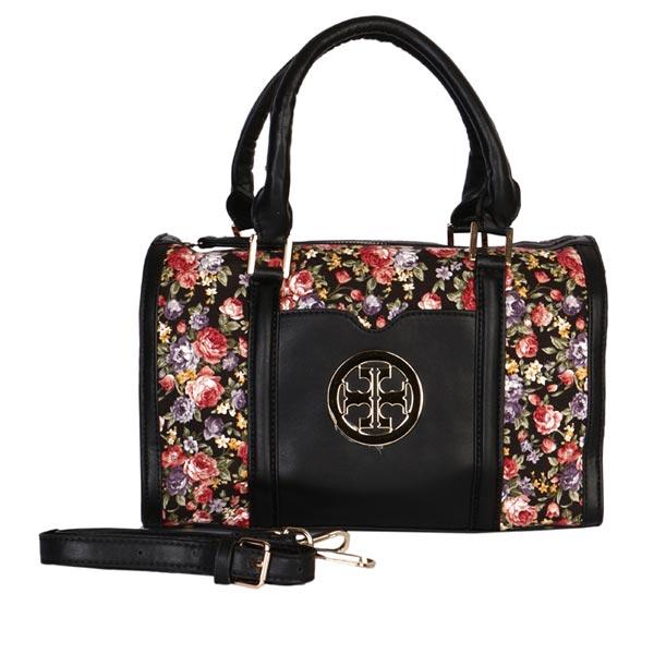 کیف دستی زنانه گلدار (مشکی)